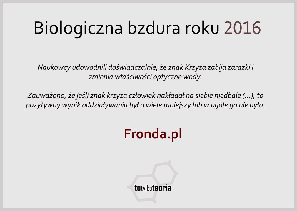 Biologiczna Bzdura Roku 2016 Fronda