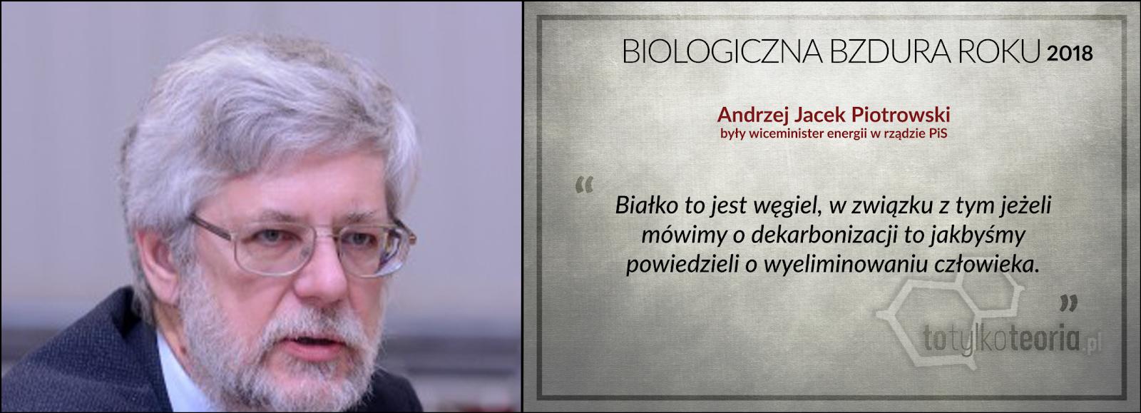 Andrzej Jacek Piotrowski wiceminister Biologiczna Bzdura Roku 2018 węgiel białko