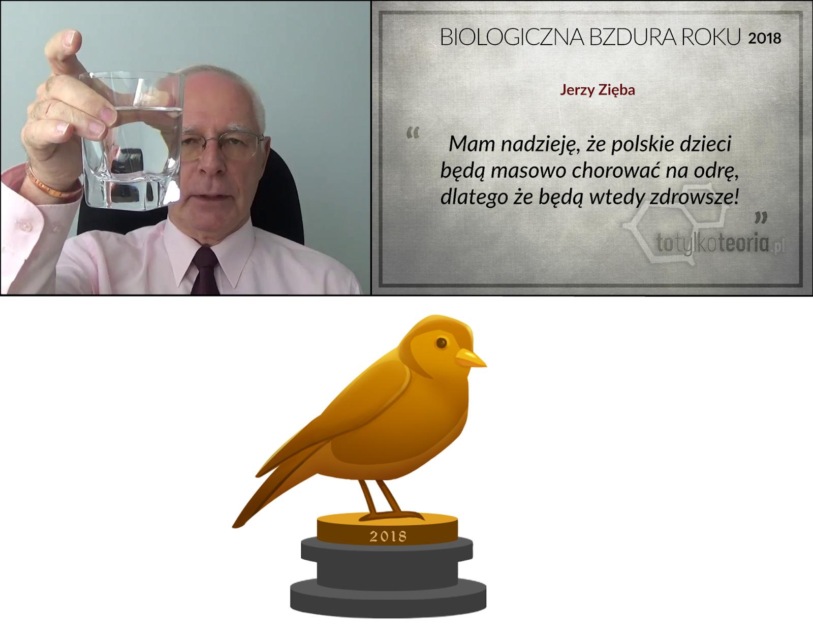 Jerzy Zięba Biologiczna Bzdura Roku 2018 odra