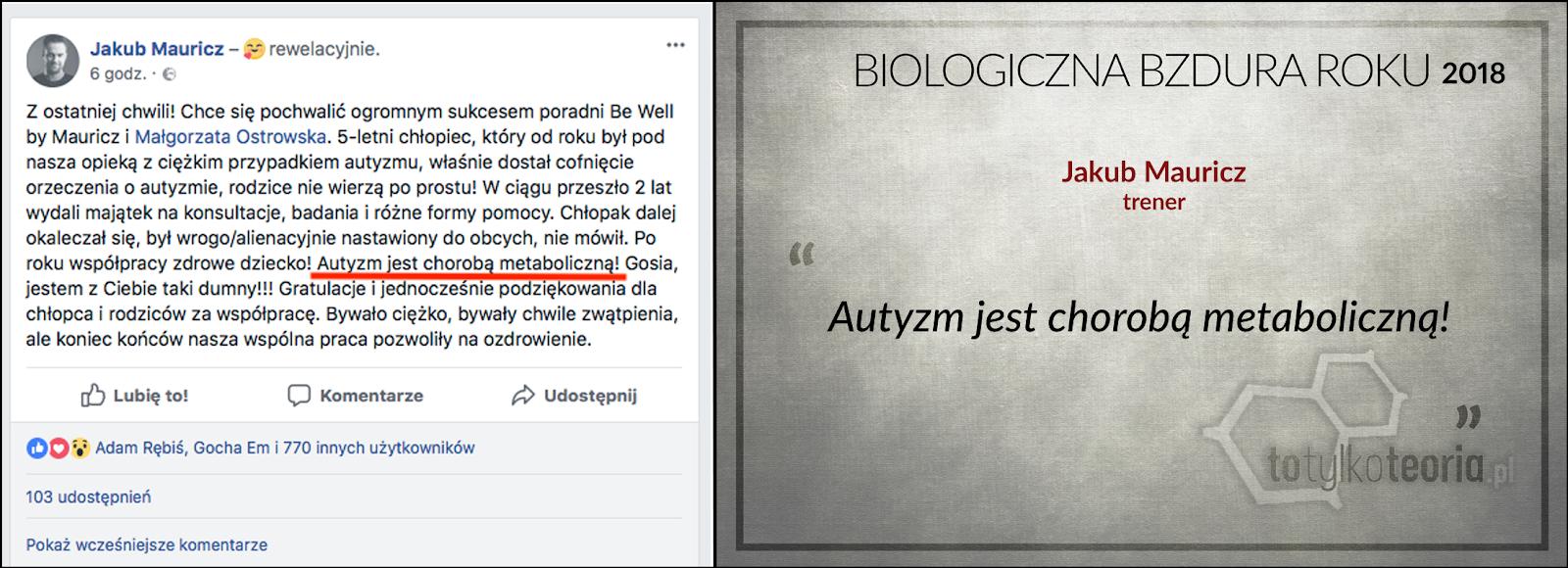Jakub Mauricz Biologiczna Bzdura Roku 2018 autyzm