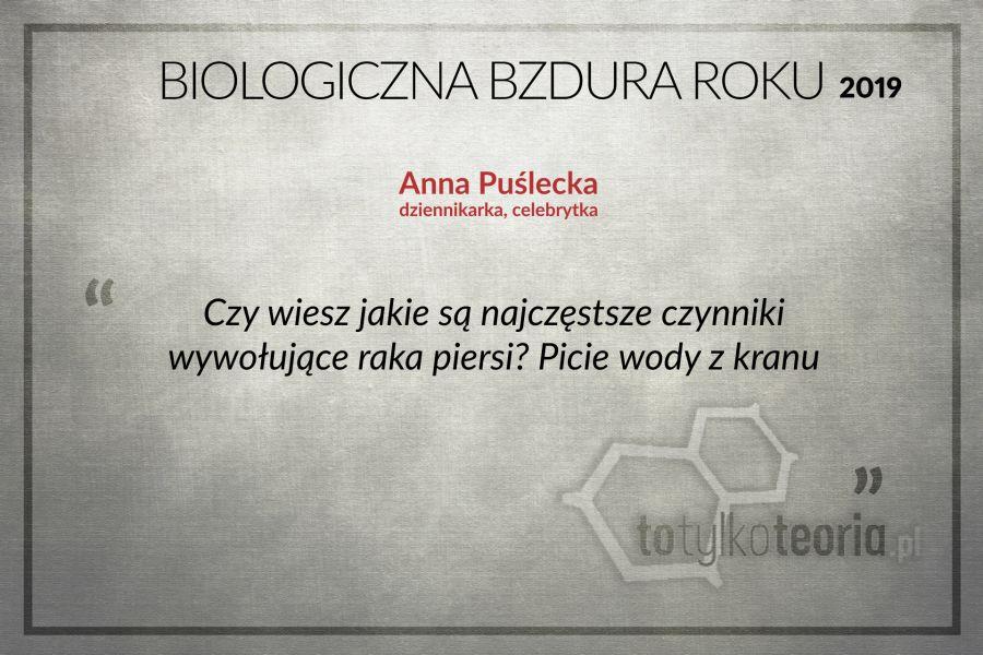 Biologiczna Bzdura Roku 2019 Anna Puślecka