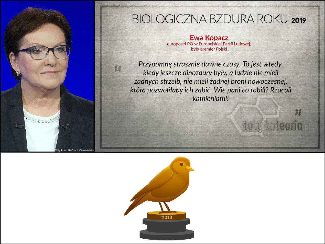 Biologiczna Bzdura Roku 2019 Ewa Kopacz