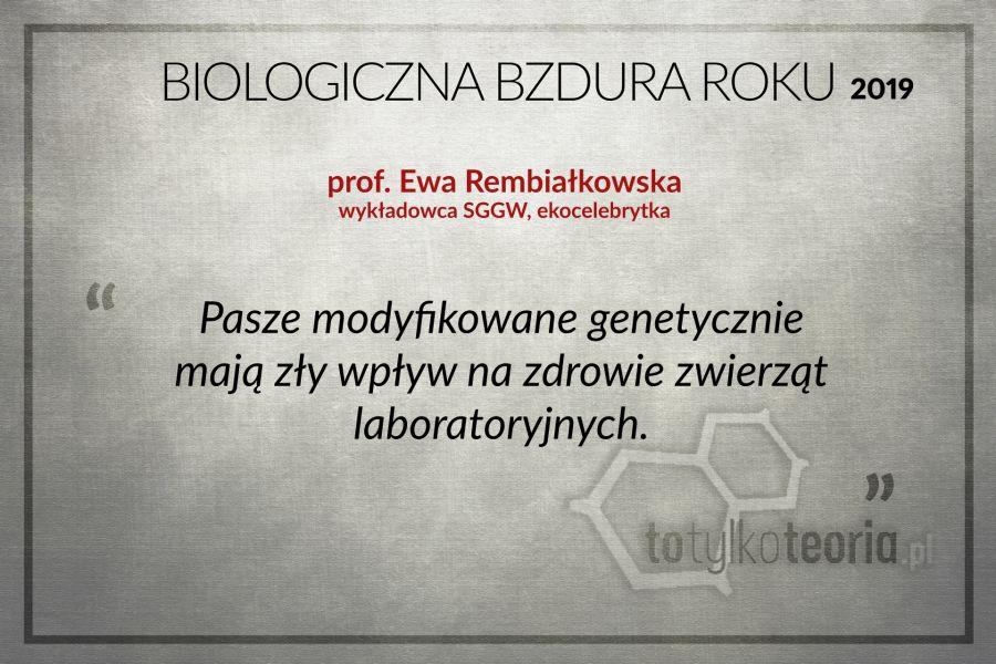 Biologiczna Bzdura Roku 2019 Ewa Rembiałkowska
